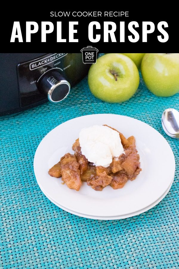 Delicious Slow Cooker Apple Crisps #SlowCookerRecipe #AppleRecipe #FallRecipe #Dessert