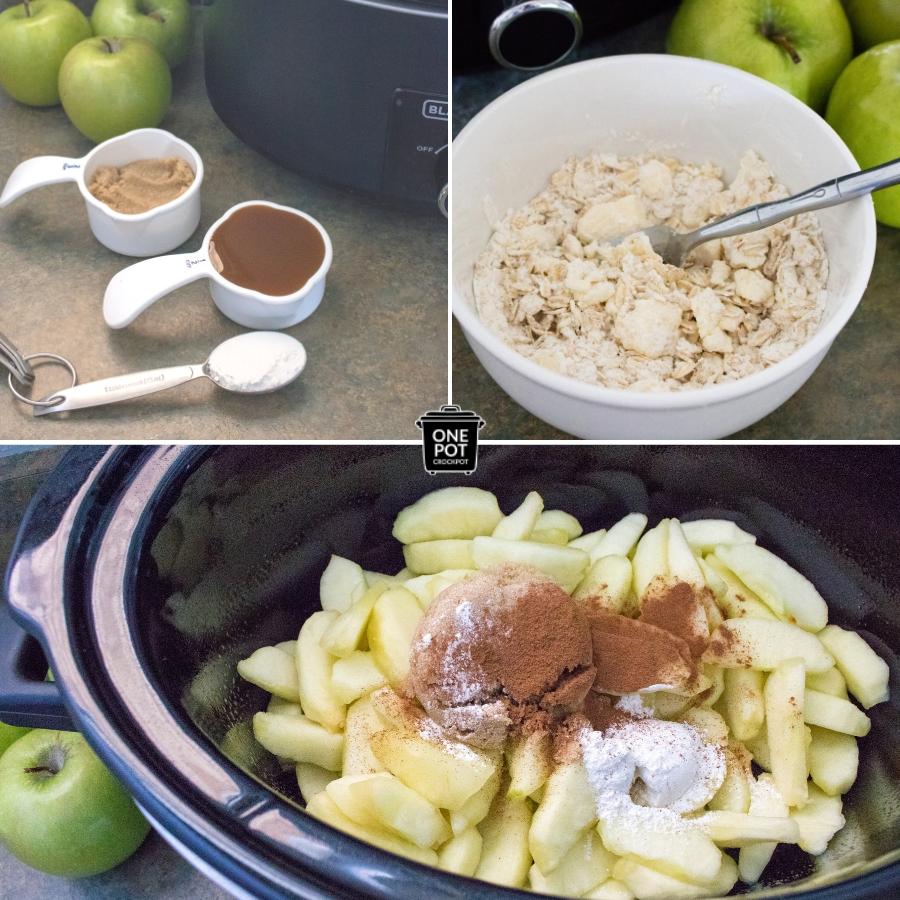 Yummy Slow Cooker Apple Crisps #AppleRecipe #Dessert #FallRecipe #AppleCrisps #SlowCooker #OnePotCrockPot