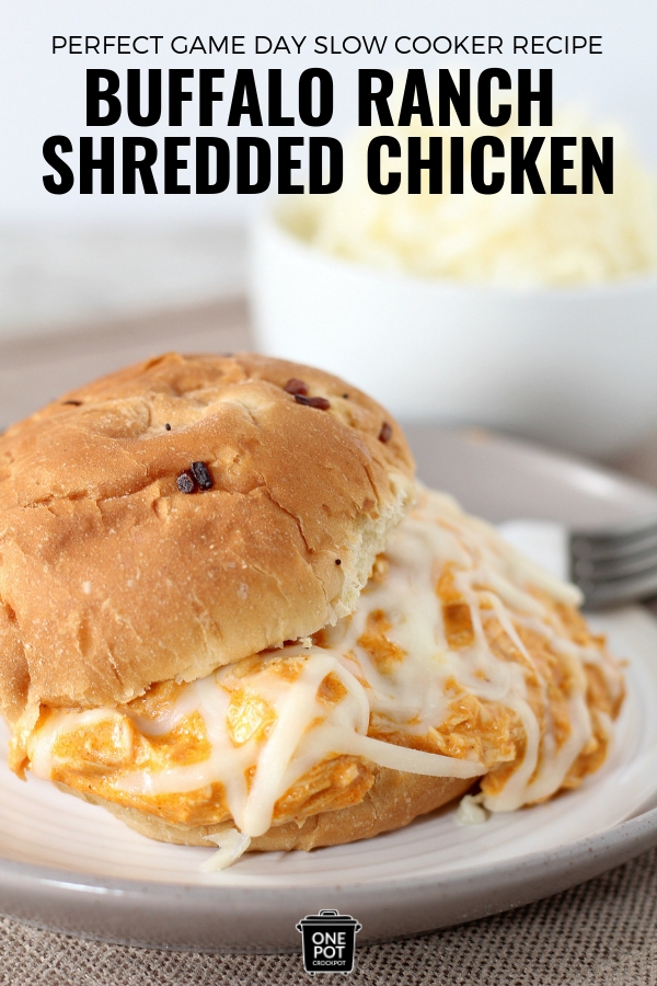 Game Day Creamy Buffalo Ranch Shredded Chicken #SlowCooker #Football #ChickenRecipe #YummyRecipes