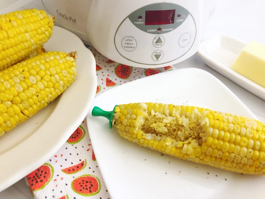 Slow Cooker Corn on the Cob with a bite taken out