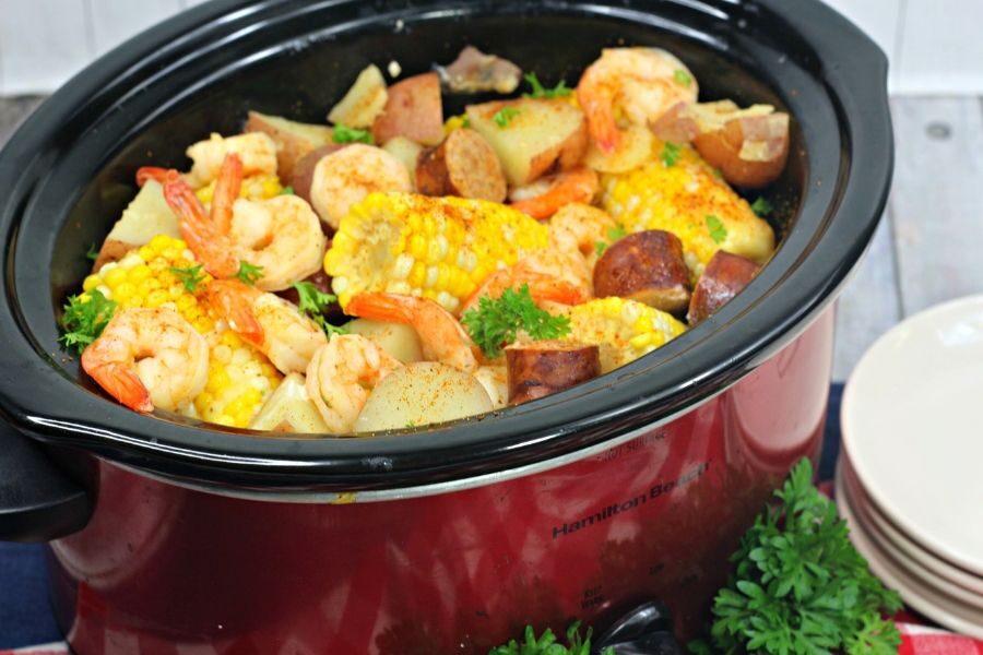 slow cooker shrimp boil made in a crock pot