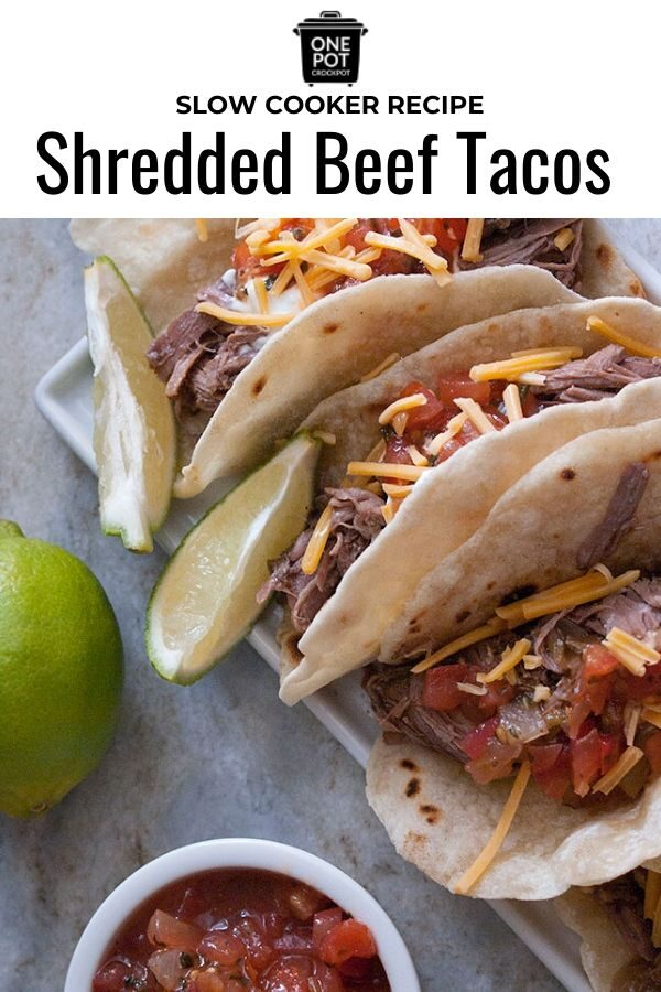 You're going to love the taste of these slow cooker shredded beef tacos! #slowcooker #crockpot #beeftacos