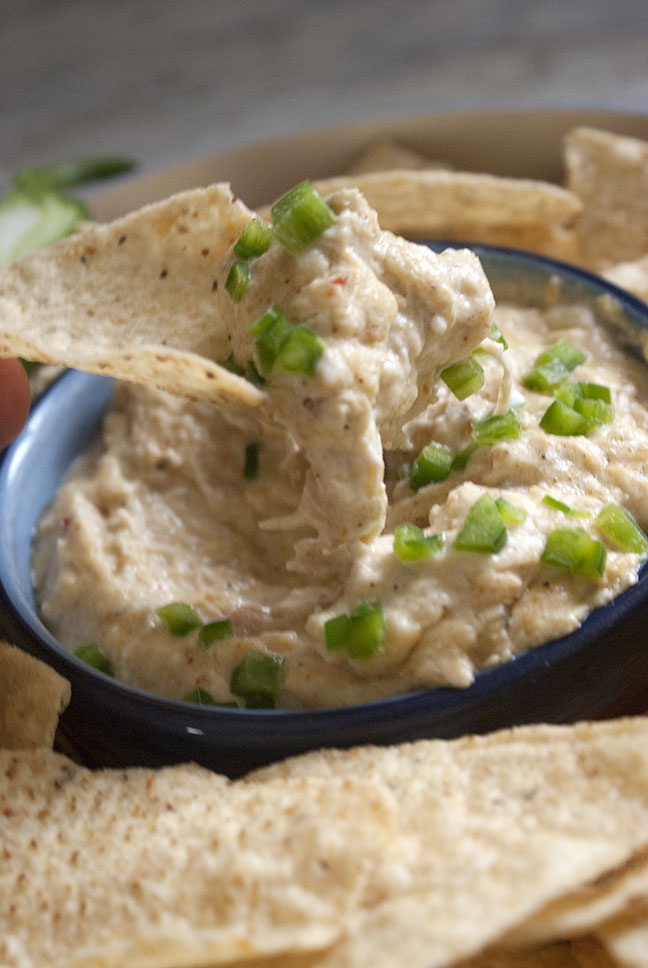 scooping chicken party dip with a tortilla chip