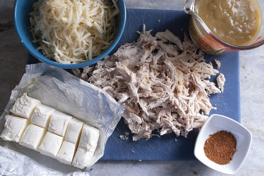 Ingredients for chicken enchilada dip