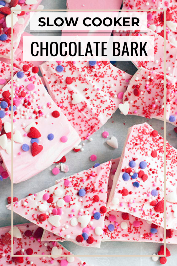 Pinterest graphic of chocolate bark