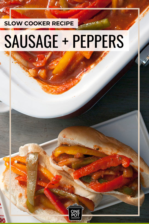 Slow cooker sausage and peppers recipe in a white dish next to a sub sandwhich made with sausage and peppers.