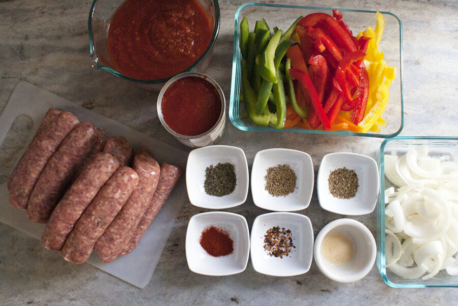 Ingredients for crockpot sausage and peppers recipe.