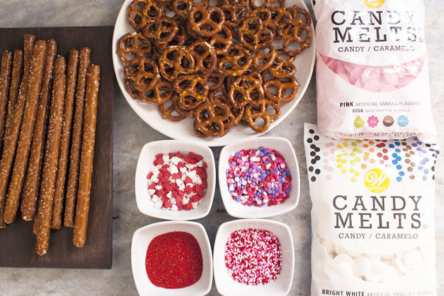 Supplies needed for chocolate dipped pretzels and pretzel sticks