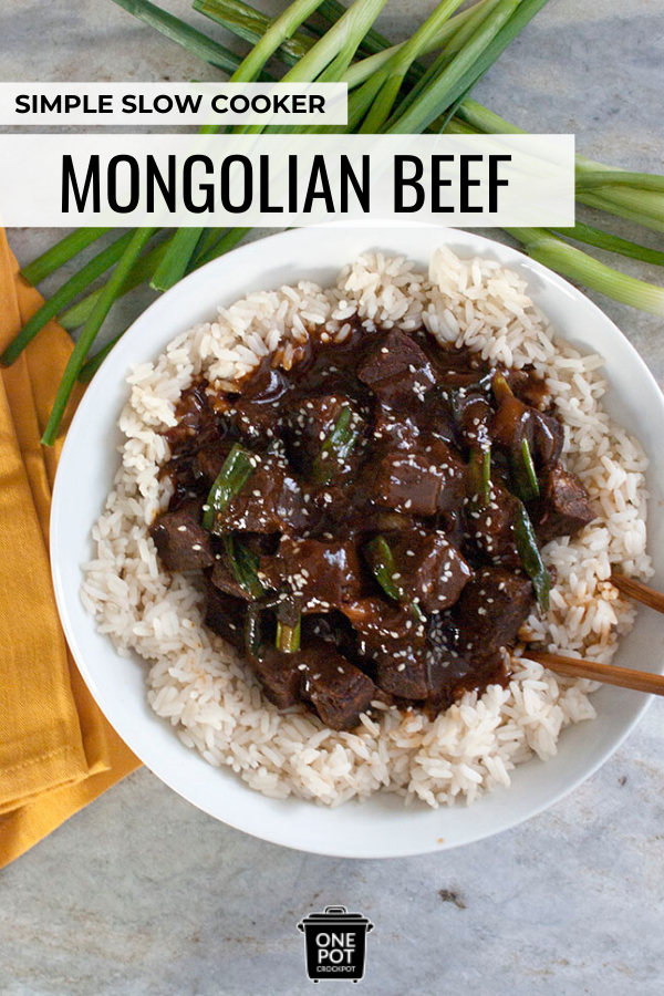 Pinterest graphic for slow cooker mongolian beef