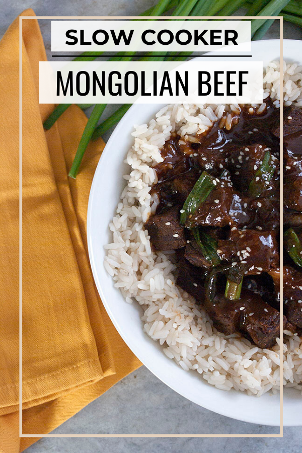 Pinterest graphic for crock pot mongolian beef