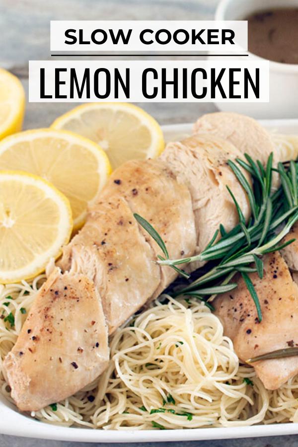 Pinterest graphic for crock pot lemon chicken recipe