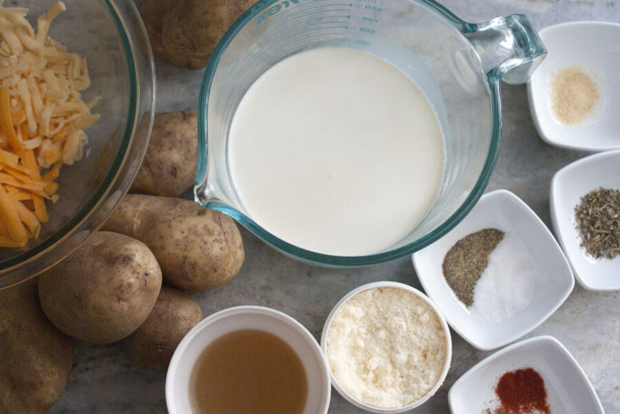 ingredients to make slow cooker scalloped potatoes