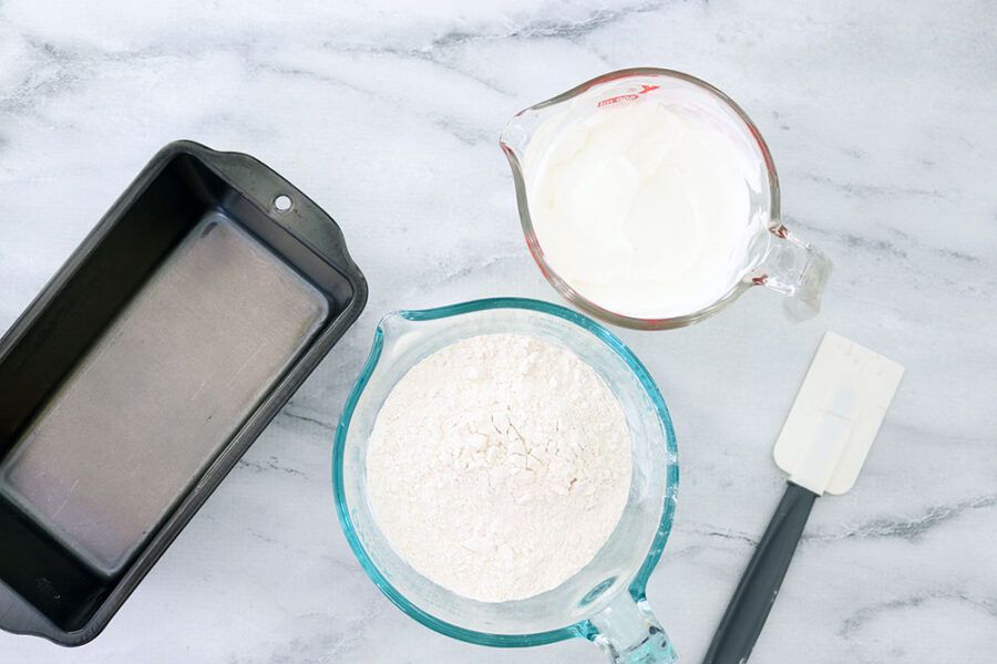 ingredients and materials needed to make homemade bread