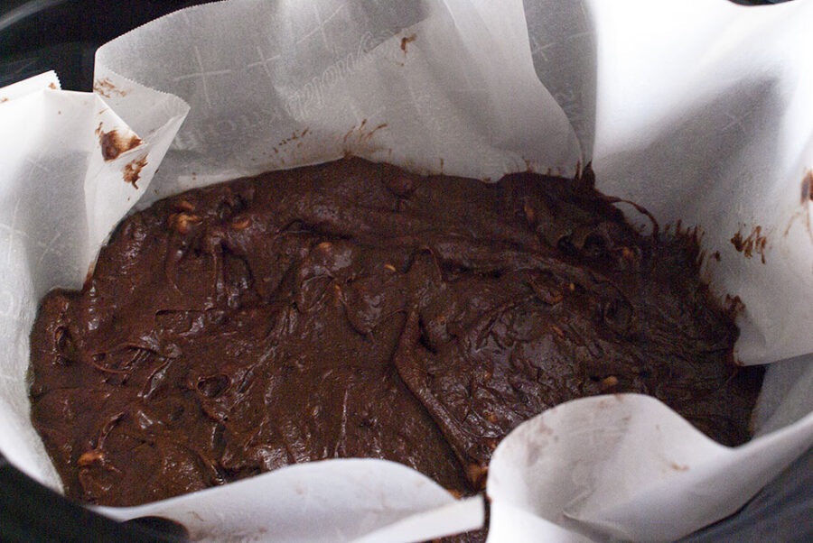 cooked brownie in a crockpot