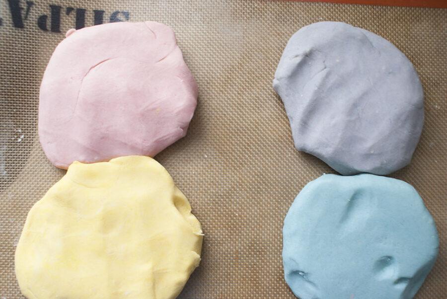 adding food coloring to homemade playdough