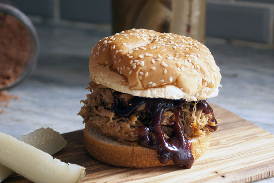 pulled pork sandwich cooked in the slow cooker