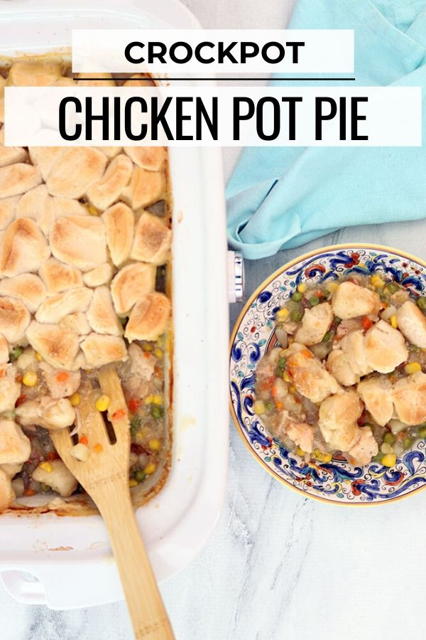 chicken pot pie being made in the crock pot