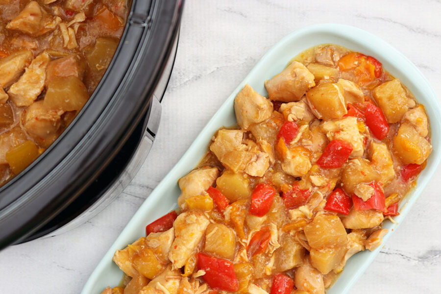 pineapple chicken with bell peppers and pineapple chunks