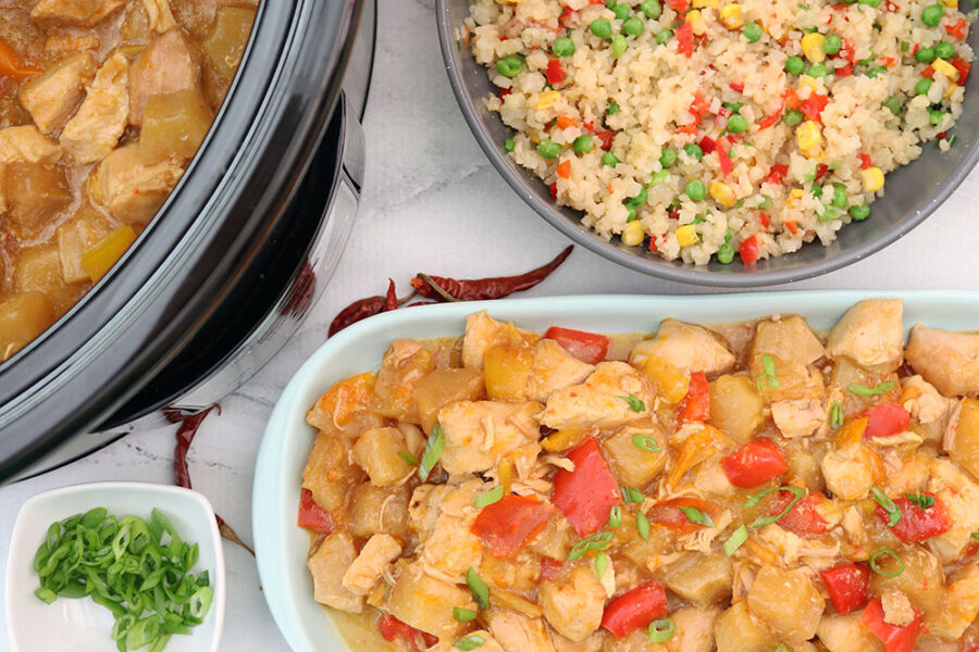 crockpot pineapple chicken with scallions and fried rice